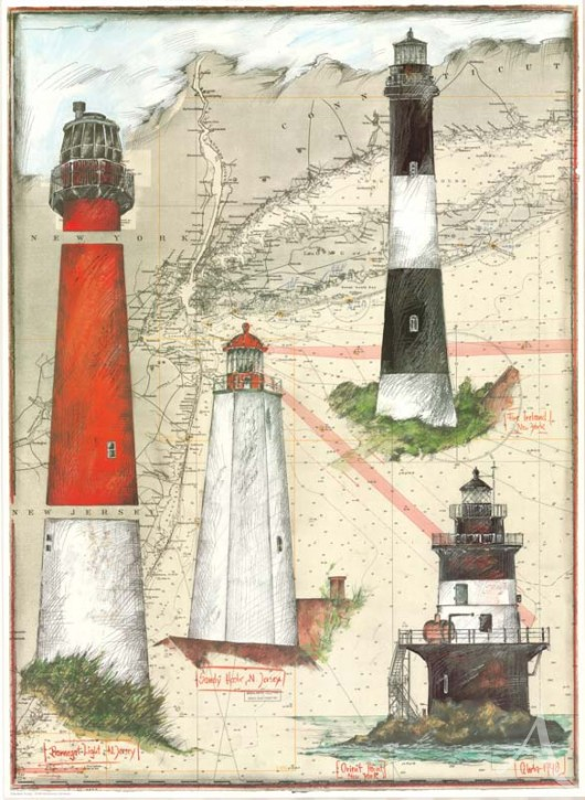 "Kunstdruck ""New Jersey Lighthouse"""