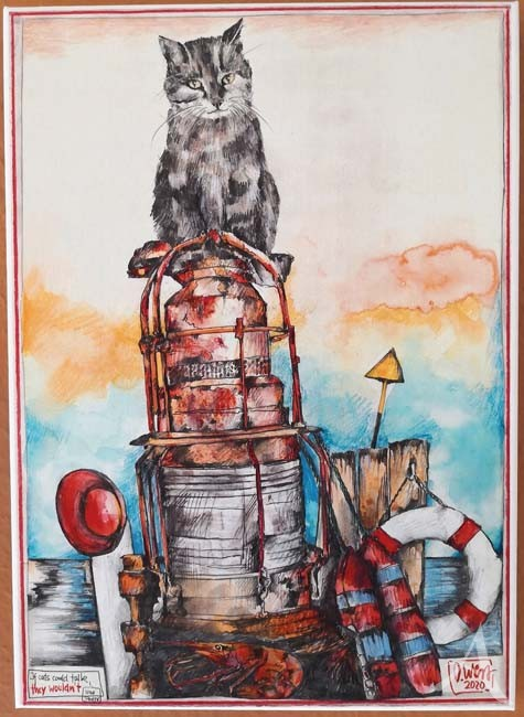 "Kunstdruck auf Leinwand - Ole West ""If Cats Could Talk..."" - ca.: 36 x 50cm"
