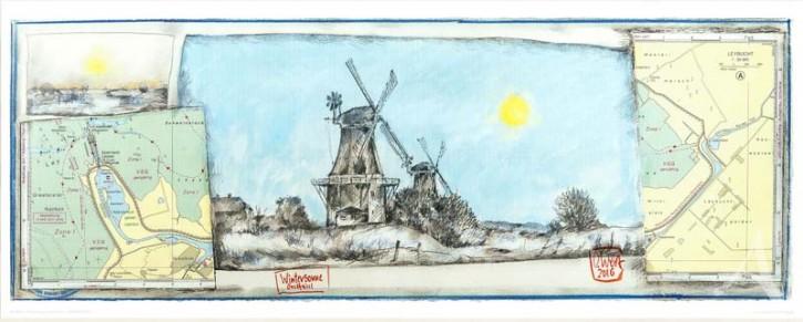 """Kunstdruck """"WinterSonne Greetsiel"""" von OLE WEST."""