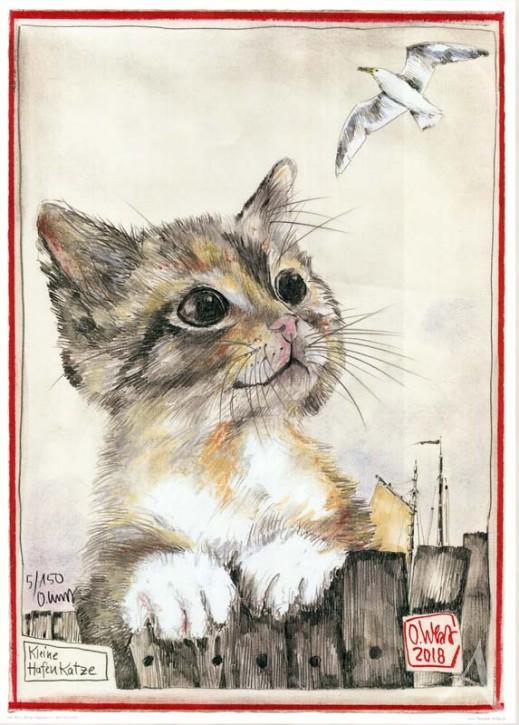 """Kunstdruck """"Kleine Hafenkatze"""" HANDSIGNIERT & Limitiert auf 150 Stück !"""