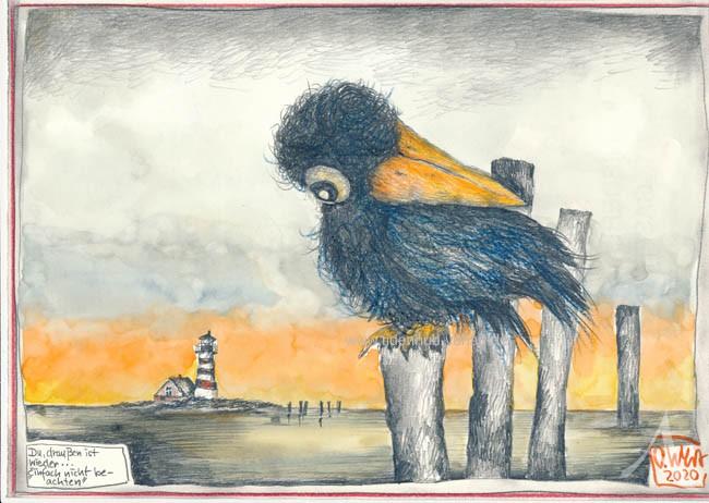 """Zeichnung """"Du, draußen ist wieder..."""" - OLE WEST - UNIKAT"""
