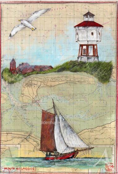 """Zeichnung """"...und segelten nach LANGEOOG"""" von OLE WEST - UNIKAT"""