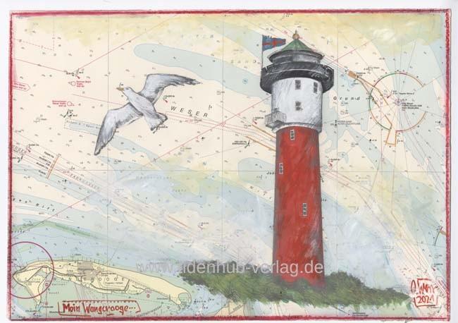 """Zeichnung """"MOIN Wangerooge"""" (Flagge) von OLE WEST - UNIKAT"""