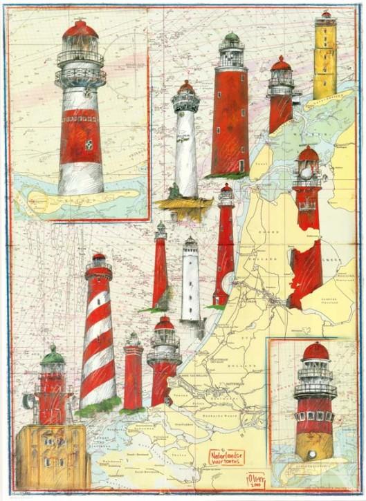 """Kunstdruck """"Leuchtturmküste Niederlande"""""""
