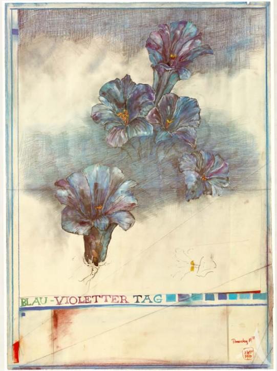 """Kunstdruck """"Blau - Violetter Tag"""""""