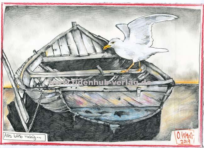 """Zeichnung """"Alles blieb ruhig..."""" von OLE WEST"""