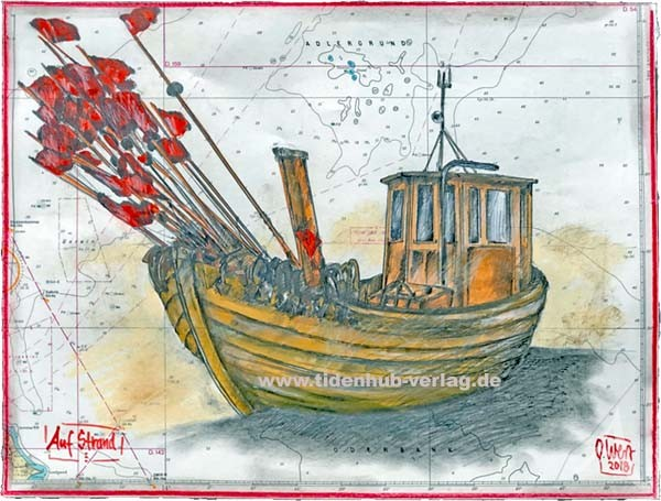 """Zeichnung auf SEEKARTE """"Auf Strand"""" OLE WEST - UNIKAT"""