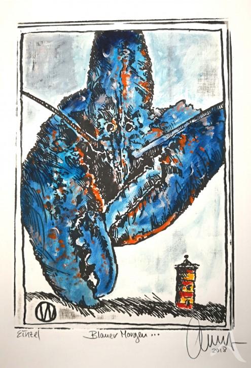 """Holzschnitt """"Blauer Morgen (Hummer / Pilsum)"""" von OLE WEST"""
