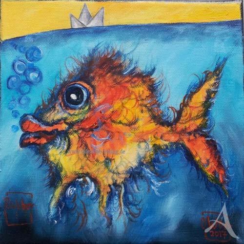 """ÖLBILD --  """"BLUBBER"""" (Fisch mit Krone) -- Ole West - UNIKAT"""
