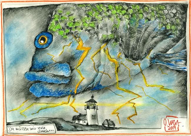 """Zeichnung - """"Da müssen wir nun durch..."""" von OLE WEST"""