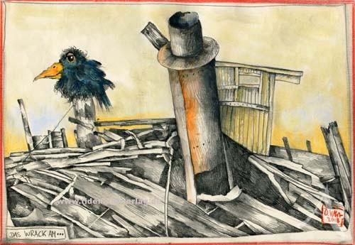 """Zeichnung - """"Das Wrack am..."""" von OLE WEST - UNIKAT"""