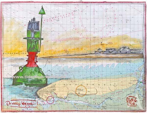 """Zeichnung auf SEEKARTE """"Der richtige Weg nach...(Norderney)"""" OLE WEST - UNIKAT"""
