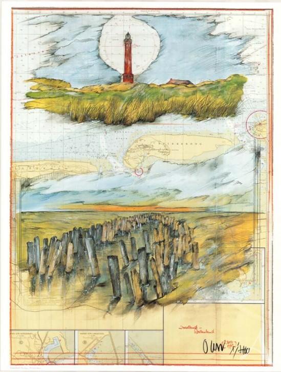 """Kunstdruck """"Inselland-Wattenland"""" (Norderney) HANDSIGNIERT & Limitiert auf 400 Stück !"""