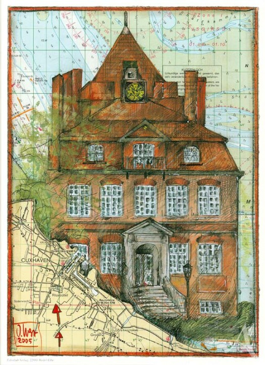 """Kunstdruck """"Schloß Ritzebüttel (Cuxhaven)"""" von OLE WEST."""