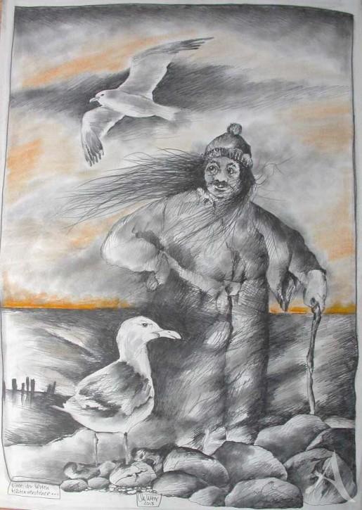 """Zeichnung """"Einer der letzten Küstenversteher"""" OLE WEST - UNIKAT"""