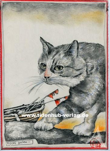 """Zeichnung """"Fische gucken...(Katze)"""" OLE WEST - UNIKAT"""