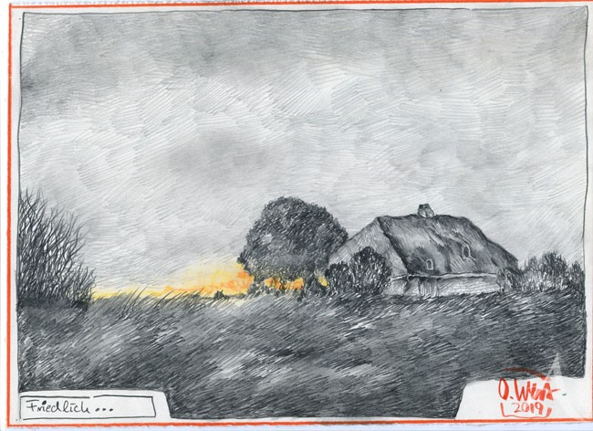 """Zeichnung - """"Friedlich..."""" von OLE WEST"""
