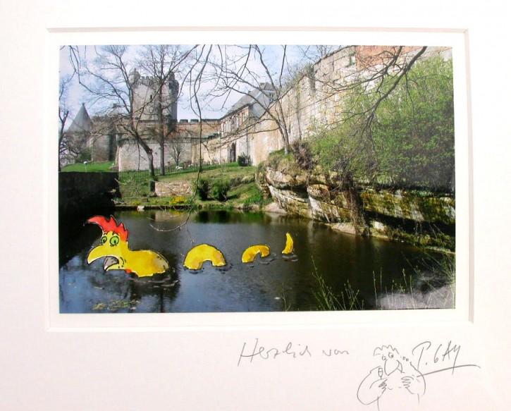 """Original - Collage auf Foto """"Das Teichmonster"""" Peter Gaymann"""