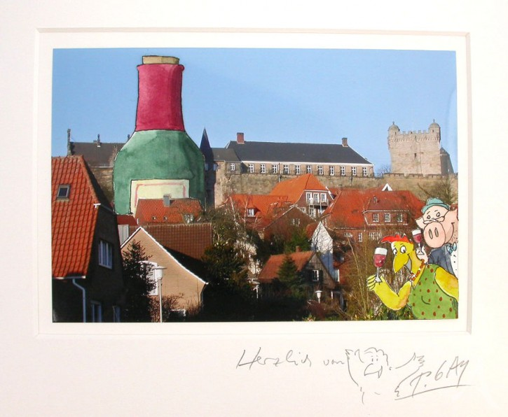 "Original - Collage auf Foto ""Prosit"" Peter Gaymann"