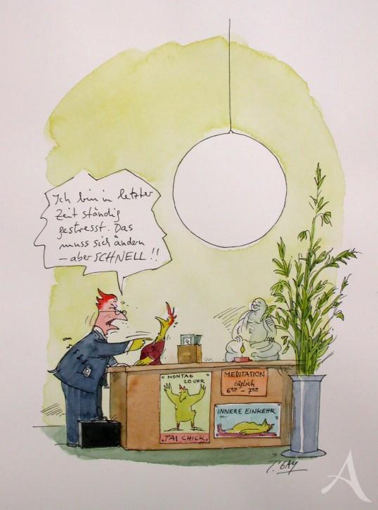 "Original - Cartoon ""Ich bin ständig gestresst..."" Peter Gaymann"