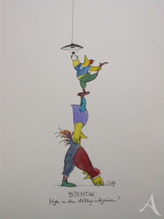 """Original - Cartoon """"Yoga in den Alltag integrieren"""" Peter Gaymann"""