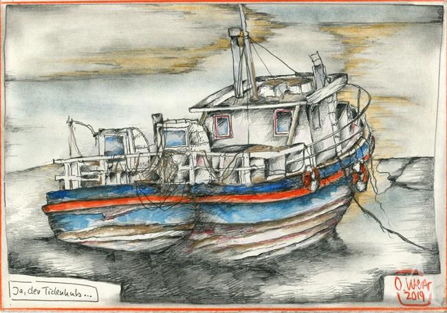 """Zeichnung - """"Ja, der Tidenhub..."""" von OLE WEST"""