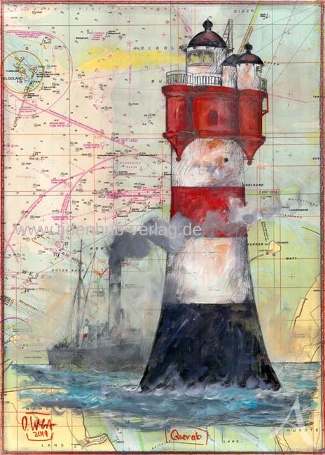 """Kunstdruck auf Leinwand von OLE WEST """"Querab"""" - Roter Sand - ca. 48 x 67,5cm"""