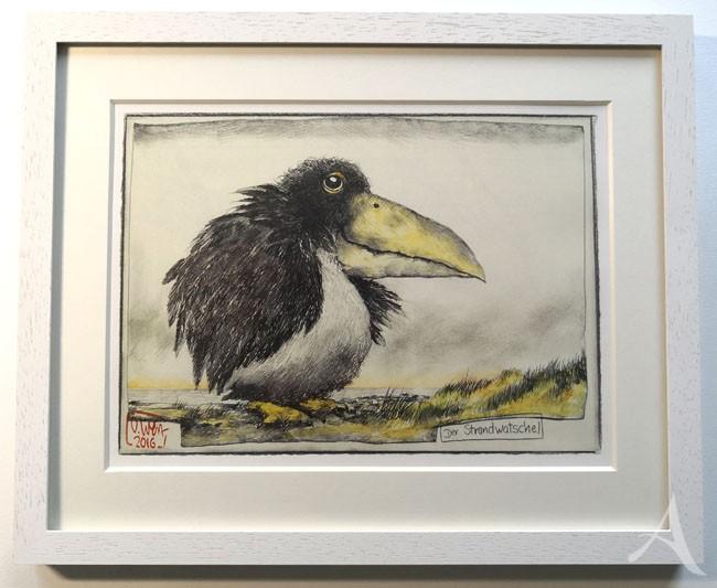 """""""Der Strandwatschel"""" - GERAHMTER Kunstdruck von Ole West - (24 x 30)"""