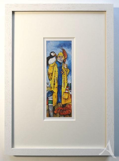 """""""Eine lange Geschichte..."""" (Seemann, gelb) - GERAHMTER Kunstdruck von Ole West - (21 x 30)"""