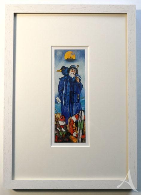 """""""Wenn der Vollmondfrachter..."""" (Seemann, blau) - GERAHMTER Kunstdruck von Ole West - (21 x 30)"""