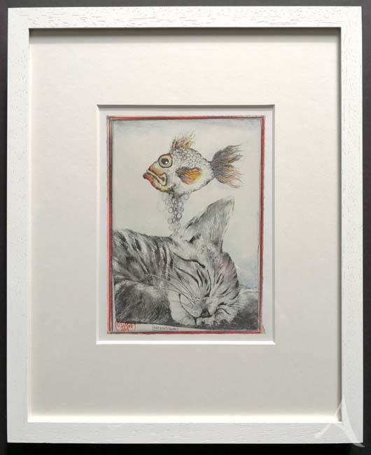 """""""Katzentraum"""" - GERAHMTER Kunstdruck von Ole West - (24 x 30)"""