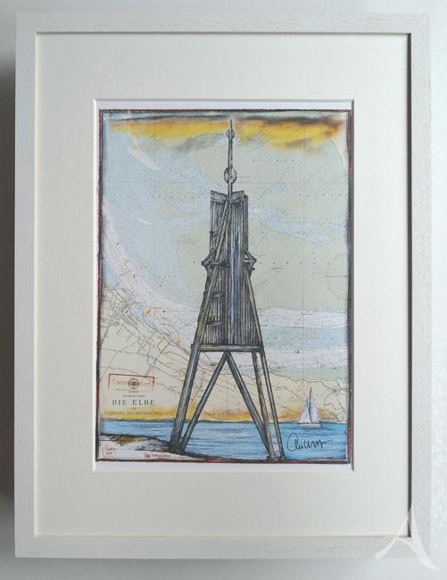 """""""Kugelbake / Cuxhaven"""" - GERAHMTER Kunstdruck - HANDSIGNIERT von Ole West - (30 x 40)"""
