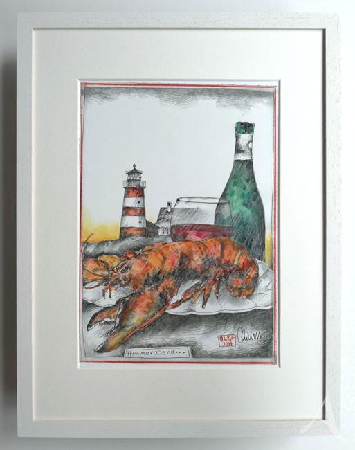 """""""Hummerabend"""" - GERAHMTER Kunstdruck - HANDSIGNIERT von Ole West - (30 x 40)"""