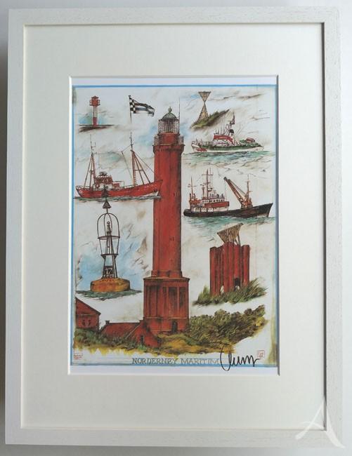 """""""NORDERNEY- Maritim"""" - GERAHMTER Kunstdruck - HANDSIGNIERT von Ole West - (30 x 40)"""