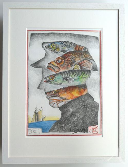 """""""Fischers Fritze"""" - GERAHMTER Kunstdruck - HANDSIGNIERT von Ole West - (30 x 40)"""