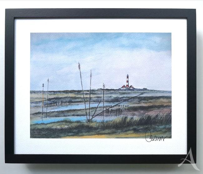 """""""Alte Pricken (Westerheversand)"""" - GERAHMTER Kunstdruck - HANDSIGNIERT von Ole West - (24 x 30)"""