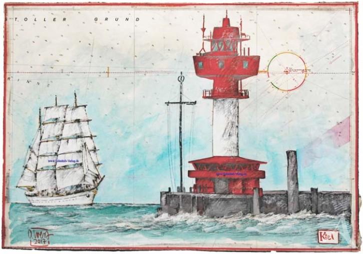 """Zeichnung auf SEEKARTE """"Kiel (mit der Gorch Fock)"""" OLE WEST - UNIKAT"""