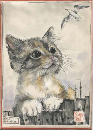 """Zeichnung """"Kleine Hafenkatze"""" OLE WEST - UNIKAT"""