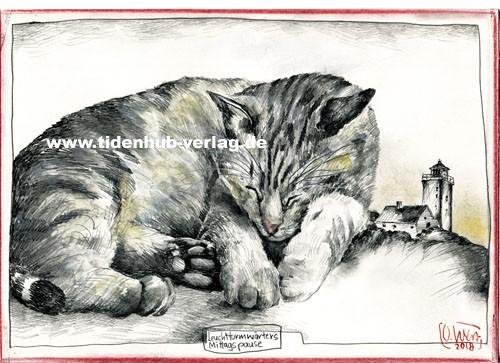"""Zeichnung """"Leuchtturmwärters Mittagspause (Katze)"""" OLE WEST - UNIKAT"""
