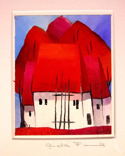 """Gisela Funke """"Rote Häuser"""" UNIKAT"""