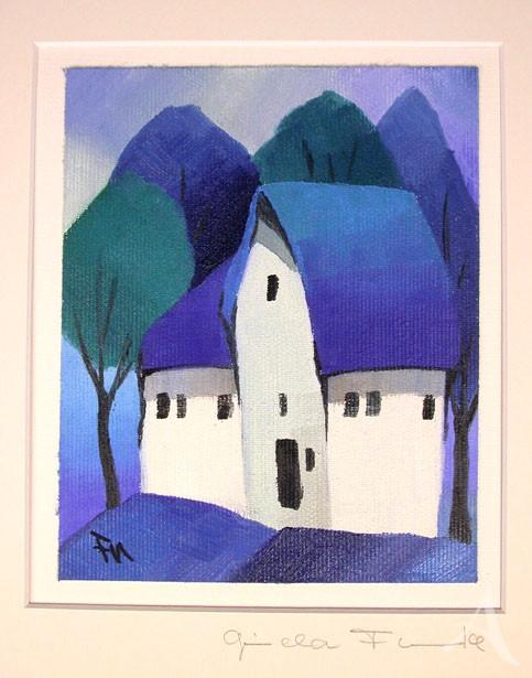 """Gisela Funke """"Blaue Häuser"""" UNIKAT"""