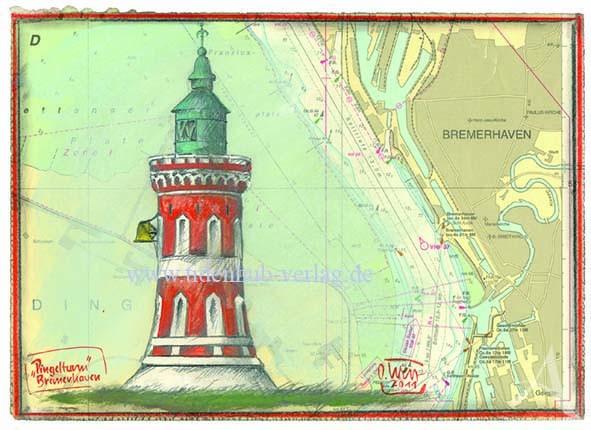 """Kunstdruck auf LEINWAND """"Pingelturm, Bremerhaven"""" (Leuchtturm Kaiserschleuse)"""