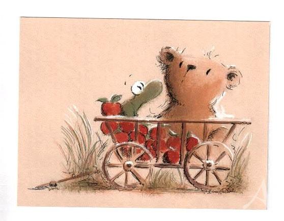 """Original- Zeichnung """"Apfelernte"""", Peter Schnellhardt"""