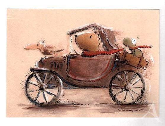 """Original- Zeichnung """"Reiselustig"""", Peter Schnellhardt"""