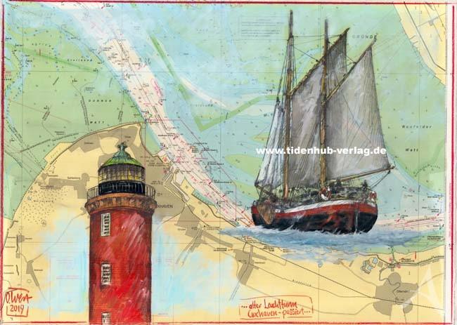 """Zeichnung """"...alter Leuchtturm Cuxhaven - passiert..."""" OLE WEST - UNIKAT"""