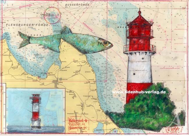"""Zeichnung """"Kalkgrund - Falshöft, da schwammen..."""" OLE WEST - UNIKAT"""