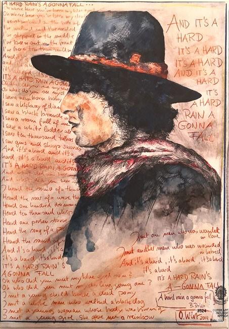 """Kunstdruck auf Leinwand - """"Bob Dylan - A Hard Rain´s A-Gonna Fall"""" von OLE WEST - 30 x 42cm"""
