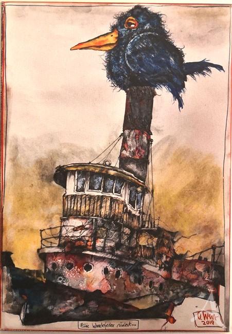 """Kunstdruck auf Leinwand - """"Eine Wrackfeder siniert..."""" von OLE WEST - ca.: 30 x 42cm"""