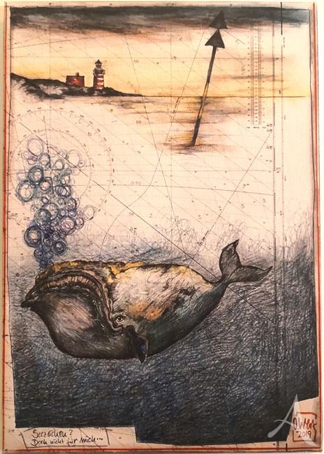 """Kunstdruck auf Leinwand - """"Seezeichen? Doch nicht für mich..."""" von OLE WEST - ca. 30 x 42cm"""