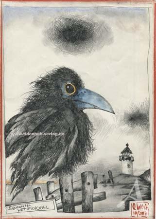 """Zeichnung """"Sogenannter Wettervogel"""" OLE WEST - UNIKAT"""